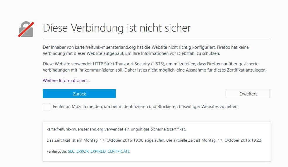 SSL-Zertifikat abgelaufen (Karte) - Störungen & Netzprobleme ...